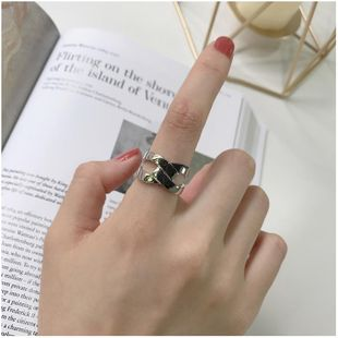Cross cutout twisted rope open ring index finger ring NHYQ187000's discount tags