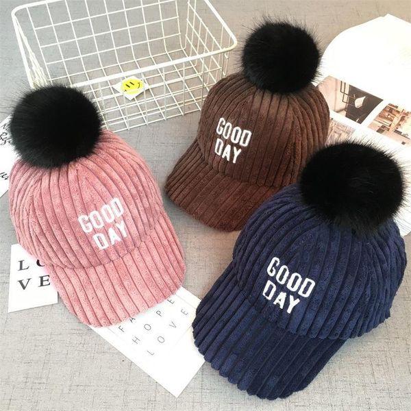 Children hat kids autumn and winter big fur ball thick baseball cap NHHY186754