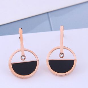 Delicate Korean fashion rose gold titanium steel female earrings simple and sweet simple personality earrings NHSC187005's discount tags
