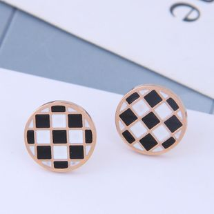 Exquisite Korean fashion rose gold titanium steel female earrings simple black and white round personality earrings NHSC187008's discount tags