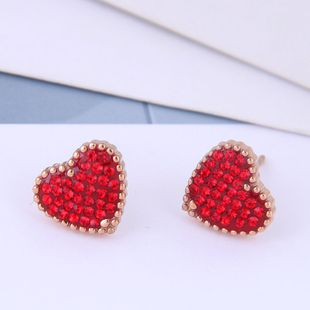 Delicate Korean fashion rose gold titanium steel female earrings simple and sweet OL flash diamond love personality temperament earrings NHSC187009's discount tags