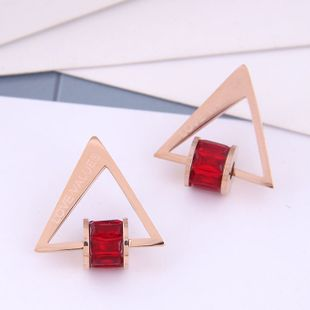 Delicate Korean fashion rose gold titanium steel female earrings simple triangle zircon personality temperament earrings NHSC187013's discount tags