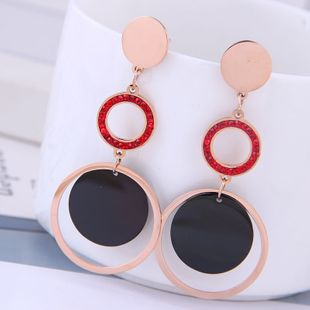 Delicate Korean fashion rose gold titanium steel female earrings simple and versatile multi-circle temperament personality temperament earrings NHSC187014's discount tags
