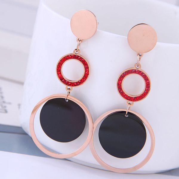 Delicate Korean fashion rose gold titanium steel female earrings simple and versatile multi-circle temperament personality temperament earrings NHSC187014