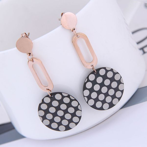 Exquisite Korean fashion rose gold titanium steel female earrings simple and simple titanium steel simple personality temperament earrings NHSC187016