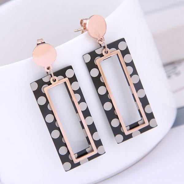 Delicate Korean fashion rose gold titanium steel female earrings simple and simple titanium steel geometric square personality temperament earrings NHSC187017