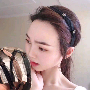 Korean fashion new and beautiful exquisite hair hoop head hoop wild diamond mesh knotted hair hoop head hoop head buckle ladies hair hoop NHSC187018's discount tags