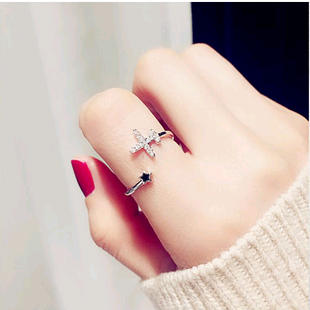 Exquisite Korean fashion sweet OL copper inlaid zircon aircraft personality female open ring NHSC187020's discount tags