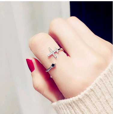 Exquisite Korean fashion sweet OL copper inlaid zircon aircraft personality female open ring NHSC187020