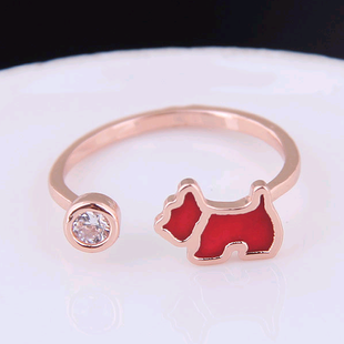 Exquisite Korean fashion sweet OL copper simple lucky dog personality female open ring NHSC187021's discount tags
