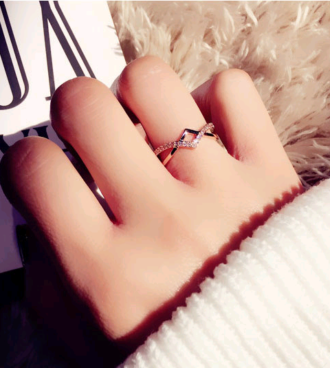 Exquisite Korean fashion sweet OL copper inlaid zircon weaving personalized female open ring NHSC187023