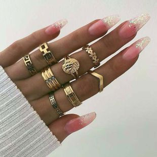 European and American fashion metal wild simple multi-piece combination personalized ring NHSC187025's discount tags