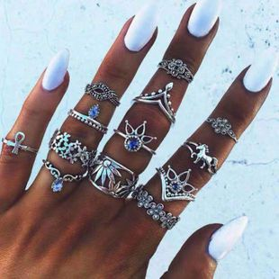 European and American fashion metal retro wild simple multi-piece combination ring NHSC187028's discount tags