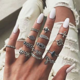 European and American fashion metal retro wild simple multi-piece combination ring NHSC187029's discount tags