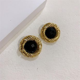 Baroque Black Stone Stud Earrings NHYQ186972's discount tags