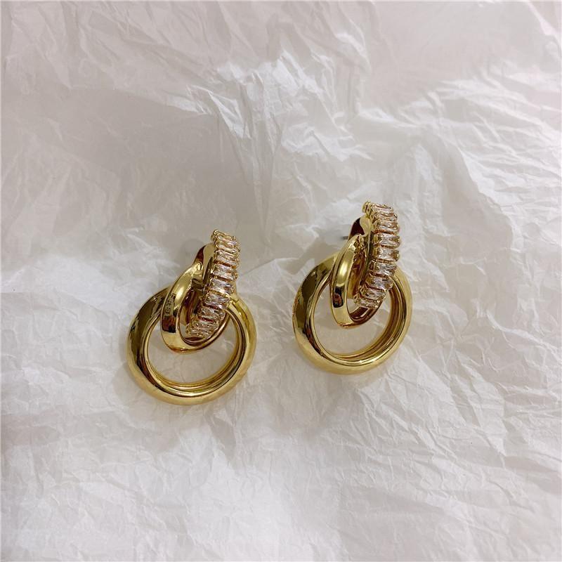 Three-dimensional winding circle zircon earrings female minimalist earrings NHYQ186975