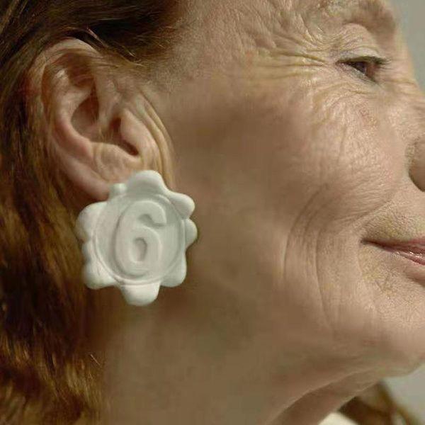 Flower letter 6 stamp earrings for women NHYQ186979