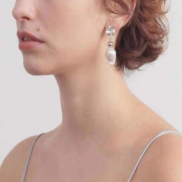 Long Baroque Asymmetric Shaped Pearl Chain Stud Earrings NHYQ186987