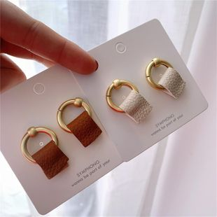 Metal Earrings Japan and South Korea Fashion Leather Dumb Gold Circle Stud Earrings NHYQ186985's discount tags
