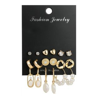 Geometric metal earring set with vintage diamond pearl studs NHSD186945's discount tags