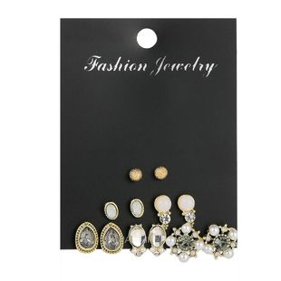 Personalized pearl geometric earrings set with nine pairs of earrings NHSD186946's discount tags