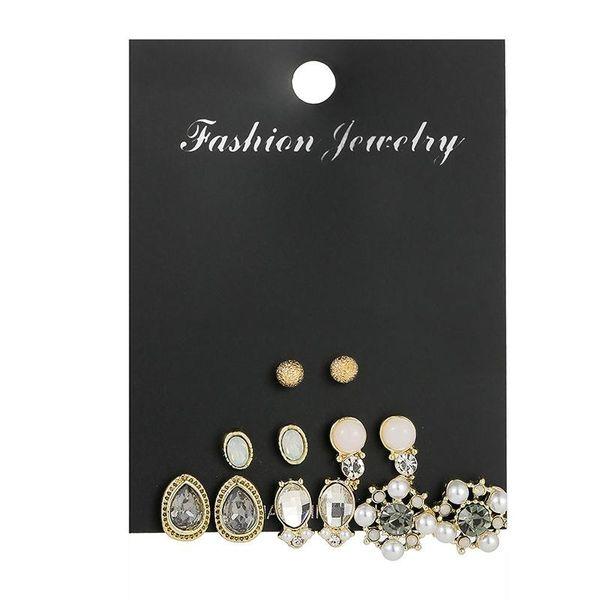 Personalized pearl geometric earrings set with nine pairs of earrings NHSD186946