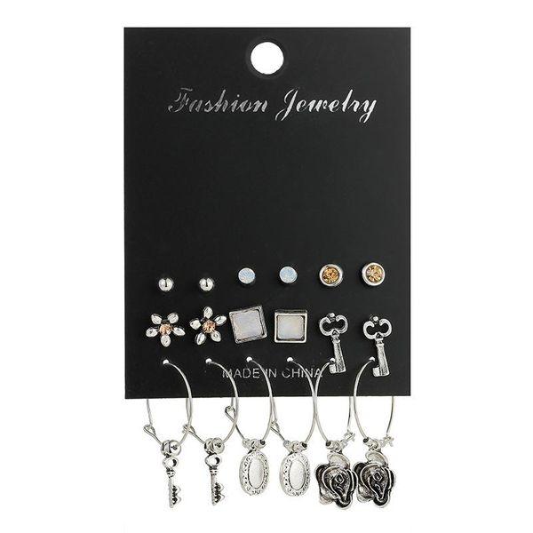 9 pairs / set of retro key crystal earrings set alloy punk earrings women NHSD186947