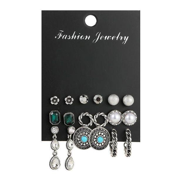 New Vintage Silver Plated Earrings 925 Boho One-Wear Stud Earrings Six-Piece Set NHSD186949