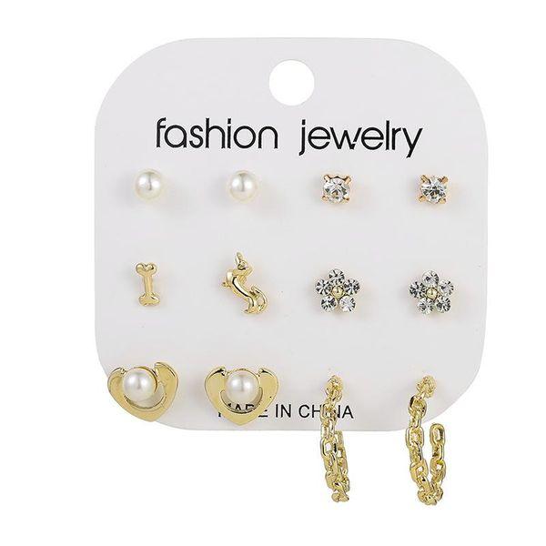 Creative personality pearl dog animal earrings set of six bags NHSD186951
