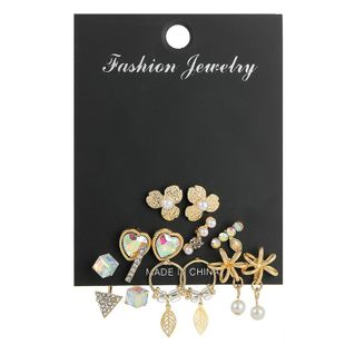 Tassel earrings with colored crystal pearl studs NHSD186954's discount tags