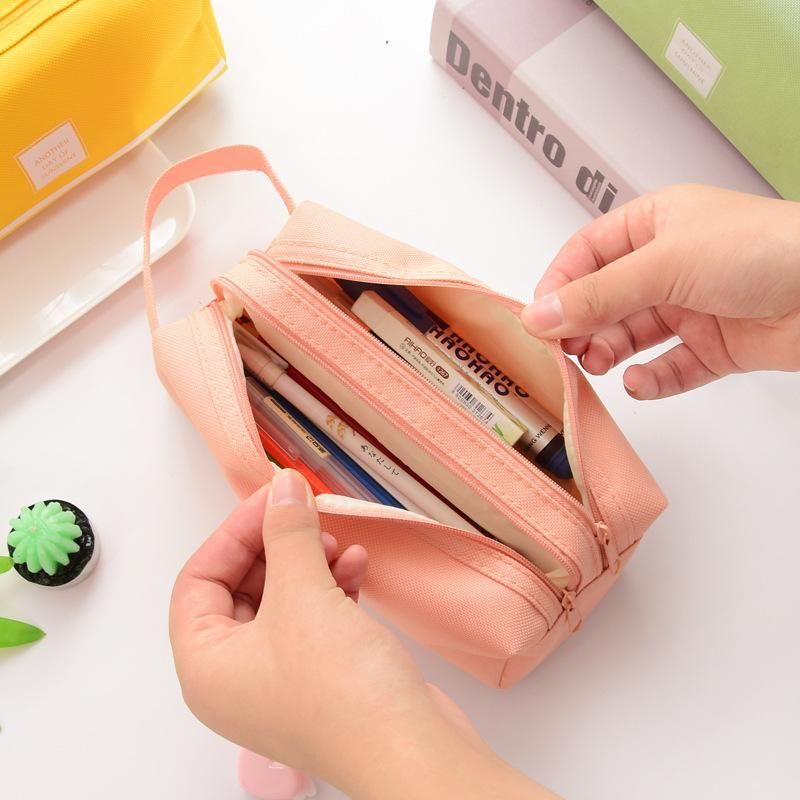 Canvas large-capacity double-layer simple solid color pencil case with zipper stationery case pencil case NHHE186890
