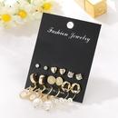 Geometric metal earring set with vintage diamond pearl studs NHSD186945