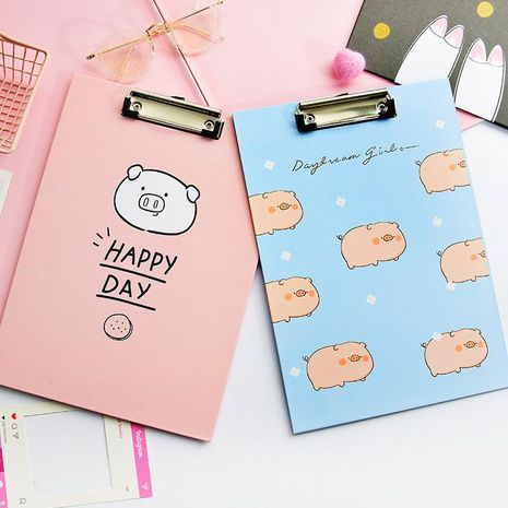 File board clip cute pig pig A4 writing pad board stationery wholesale NHHE186837's discount tags