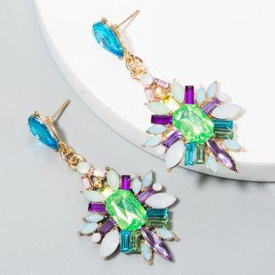 Street shooting wind alloy leaf shaped high-end diamond acrylic earrings NHLN187265's discount tags