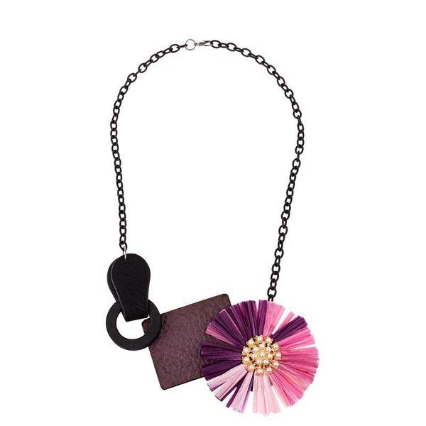 New necklace raffia leather chain ladies snake bone chain NHKC186961