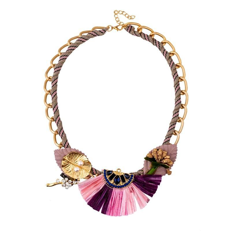 Nuevo collar de aleación de rafia doble cadena de cadena de fibra química collar de mujer NHKC186963