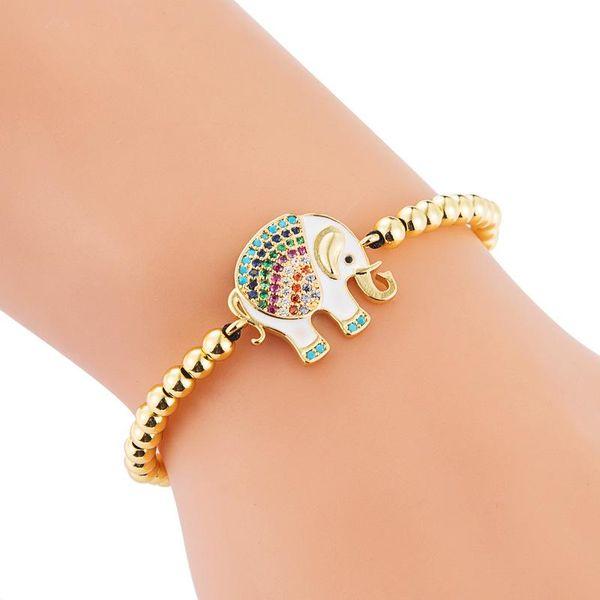 Copper Micro Inlaid Zircon Colored Elephant Copper Bead Woven Pull Bracelet NHLN187258