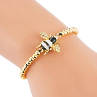 Pull braided copper micro-inlaid zircon drip oil bee bracelet NHLN187259's discount tags