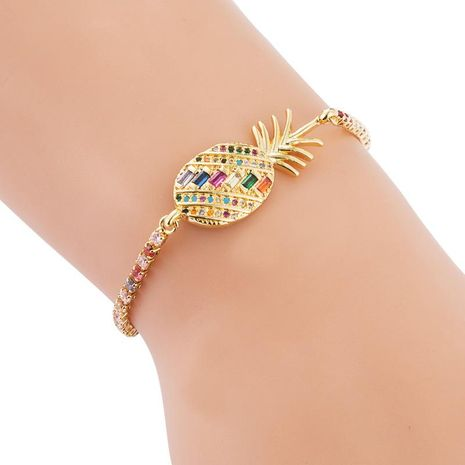 Full copper pull adjustable Xiaoqing new pineapple inlaid color zircon bracelet NHLN187260's discount tags