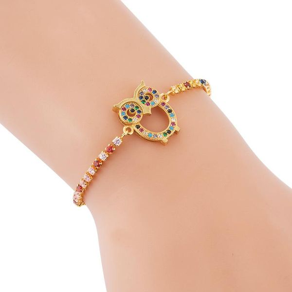 Fashionable Adjustable Copper Micro Inlaid Colorful Zircon Creative Hollow Out Owl Bracelet NHLN187261