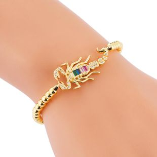 Brass Inlaid Colorful Zircon Individual Scorpion Accessories Copper Bead Drawstring Bracelet NHLN187264's discount tags