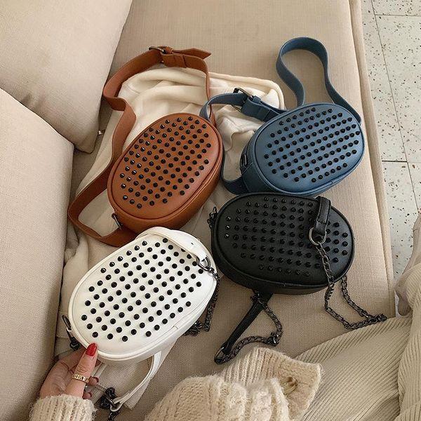 Simple fashion solid color rivet soft surface zipper wild crossbody shoulder chain belt bag NHPB187036