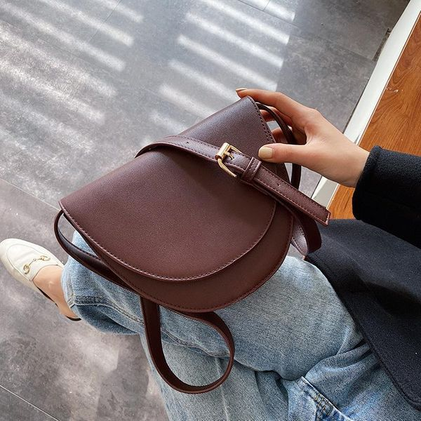Women's single shoulder semi-circular saddle bag crossbody bag NHLD187207