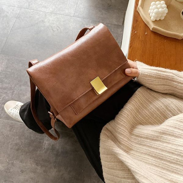 Women's Messenger Bag Solid Color Bag Clasp Retro Winter Women's Small Square Bag NHLD187221