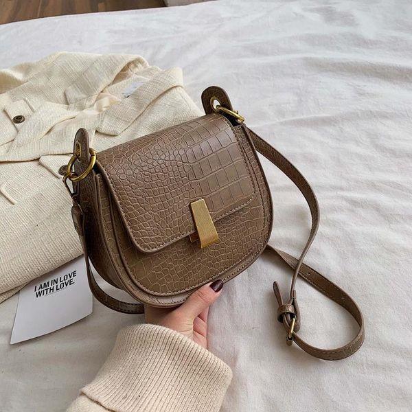 Autumn and winter new fashion messenger bag crocodile pattern saddle bag NHLD187233