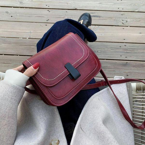 Solid color bag lock bag female 2019 one-shoulder texture messenger female small square bag NHLD187243