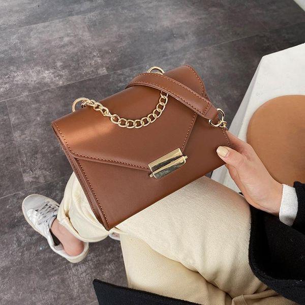 Simple wild bag lock solid color small square bag shoulder Messenger bag NHLD187244