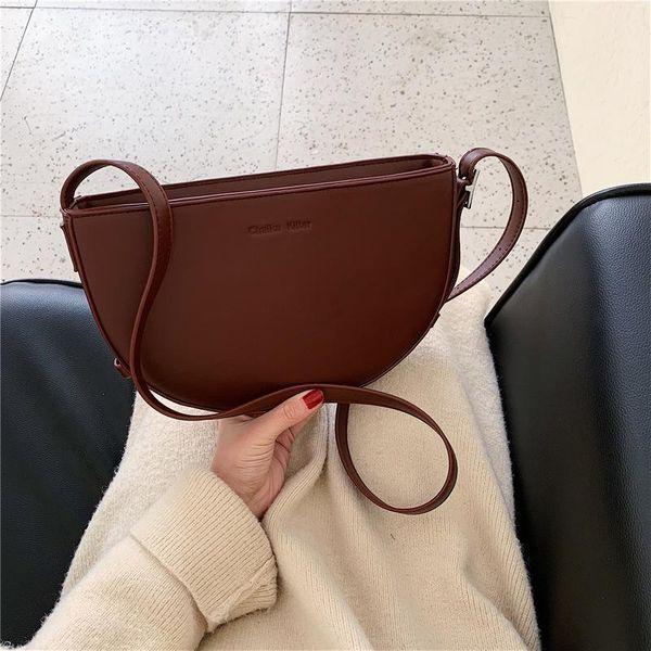 Women's bag simple solid color saddle bag shoulder bag diagonal bag NHLD187246
