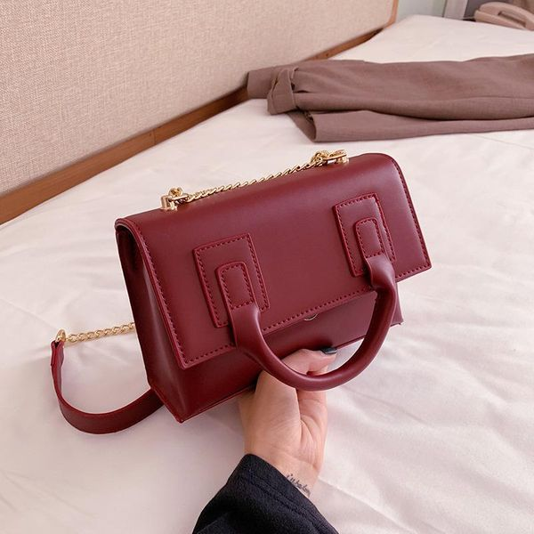 Pure color portable temperament women bag cross-body bag fashion chain wild shoulder bag NHLD187249