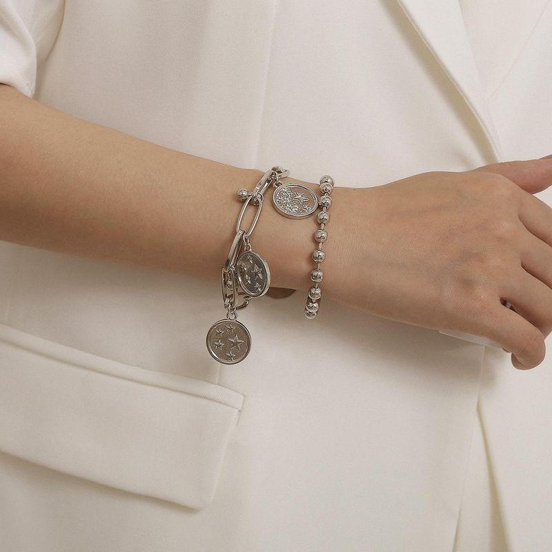 Jewelry round bead chain geometric bracelet female simple star relief pendant set bracelet NHXR187443